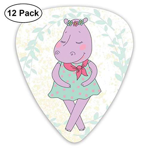 Guitar Picks 12-Pack,Hippie Animal Hippopotamus Girl With Dotted Dress On Grungy Flower Wreath Background (Sofa Hippopotamus)