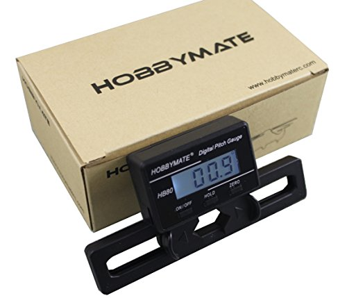 HOBBYMATE FBL Rc Helicopter Pitch Gauge for 250-800 Size Flybarless Helis W/Gyro Sensor LCD Display