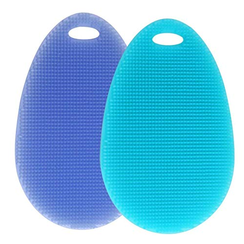 2Pcs Silicone Dish Washing Sponge Scrubber Kitchen Cleaning