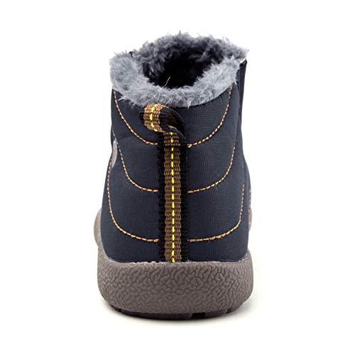 JIAWA Kids Snow Boots Boys Winter Waterproof Boots Girls Slip-on Anti-Slip Fur Lined Warm Booties(Blue 11.5 M US Little Kid) by JIAWA (Image #3)