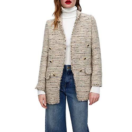 Tops Coat Mezclar Blazer nbsp; Color Soft Long Mid Bolsillos Abrigos Blazer Wjmm Plaid Mujeres nbsp; Basic nbsp;mujeres H1qOwqEa