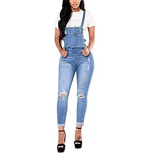Bulawoo Women Distressed Ripped Skinny Jeans Bib Denim Overalls Jumpsuits