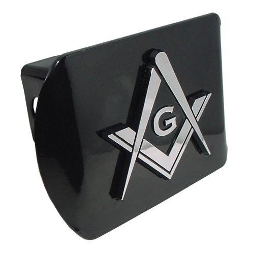 (Mason Square Compass Black with Chrome Plated Metal Masonic Lodge Freemason Fraternal Auto Car Truck Trailer Hitch Cover Fits 2 Inch Receiver)