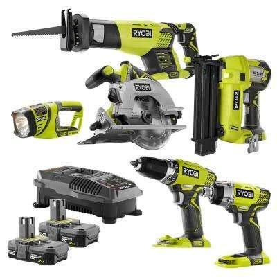 RYOBI 18-Volt ONE+ 6-Tool Combo Kit with (2) 2.0 Ah Batteries and 18-Volt ()