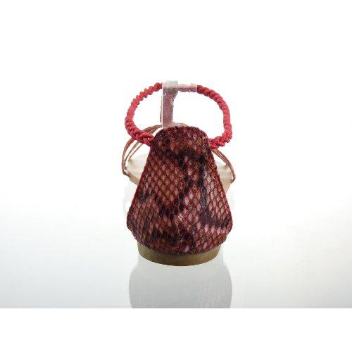 Kickly - Chaussure Mode Sandale Tong Claquettes cheville femmes Peau de serpent Talon bloc 1 CM - Intérieur cuir - Rouge
