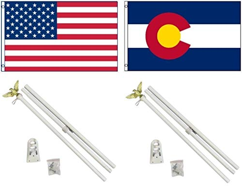 (ALBATROS 3 ft x 5 ft USA American with State of Colorado Flag with 2 White with Pole Kit Sets for Home and Parades, Official Party, All Weather Indoors Outdoors)