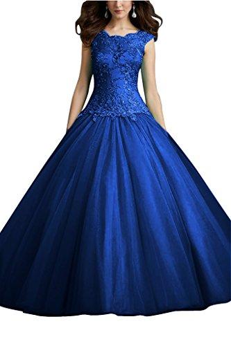 Damen Abendkleid Satin Schnuerung Hochwertig Royalblau amp;Tuell Applikation Ivydressing Promkleid Spitze dqpwTd6