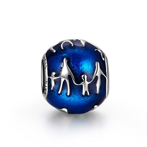 NinaQueen [Family] 925 Sterling Silver Bead Charms for Bracelets Necklaces, Blue Enamel Design Charm Comes with a...