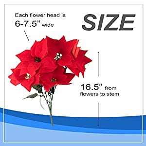 Juvale Red Poinsettia Christmas Decorations - 4-Pack Decorative Flowers with Stem, Artificial Plant and Christmas Tree Ornament for Home Office Decoration 6