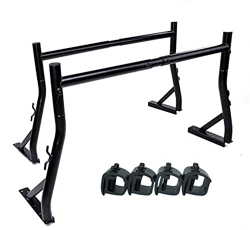AA-Racks X35 Truck Rack with (8) Non-Drilling C-Clamps Pick-up Truck Utility Ladder Rack Matte Black ()