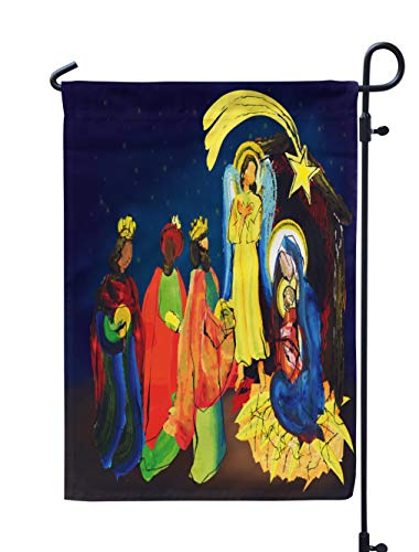 KJONG Watercolor Jesus Garden Flag 12x18 inch Christmas Nativity Religious Abstract Artistic Scene with Family Weatherproof Double Sided Outdoor Flags for Yard Patio House Decorations