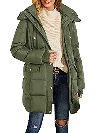 Misassy Womens Hooded Thickened Long Down Jacket Winter Parka Puffer Jackets Zip Up Button Warm Coats with Pockets Army Green