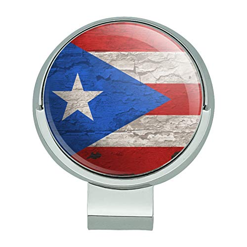 (GRAPHICS & MORE Rustic Distressed Puerto Rico Flag Wood Look Golf Hat Clip with Magnetic Ball Marker)