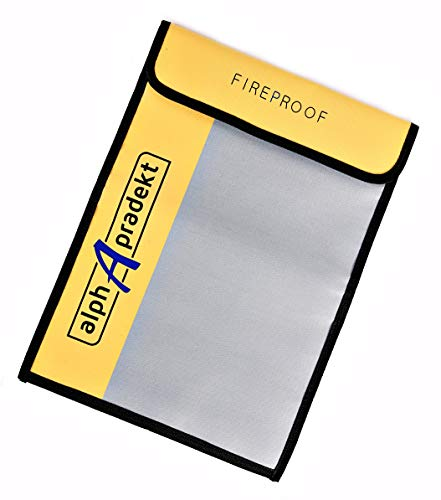 """Non Box Waterproof (Fireproof Document Bag 15"""" x 11"""" with Divider : Safe Fire Proof and Waterproof Silicone Coated Non Itchy Safe Accessory Pouch for Documents. Water Resistant Money Lock Bags as Home Safety Cash Storage)"""