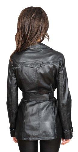 En Double Olivia Cuir Trench Dames Veste Noir Véritable Pour Breasted Manteau gaUnYqd