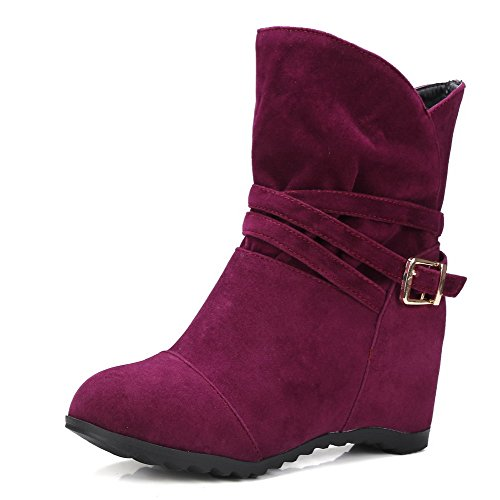 AllhqFashion Womens Frosted Pull-On Round Closed Toe High-Heels Low-Top Boots, Purple, 39