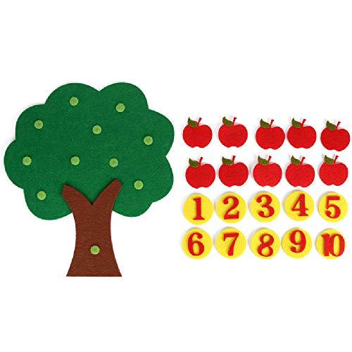- ReFaXi Felt Cloth DIY Children's Educational Toys Preschool Supplies Set of Apple Trees (Green)