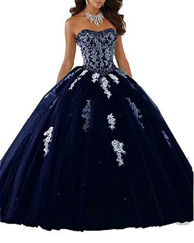 Gown New Quinceanera (Elley Womens's Lace Applique Sweet Sixteen Girl Birthday Party Backless Long Tulle Quinceanera Dress Navy Blue US2)