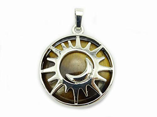 Tiger Eye Gemstone Charm - jennysun2010 Natural Tiger's Eye Gemstone Sun and Moon Reiki Chakra Healing Pendant Charm Beads Silver Plated 1 Piece per Bag for Necklace Earrings Jewelry Making Crafts Design
