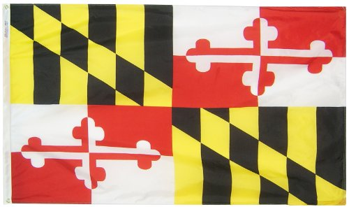 Annin Maryland State Flag 3x5 ft. Nylon SolarGuard Nyl-Glo 100% Made in USA to Official State Design Specifications by Flagmakers. Model 142360