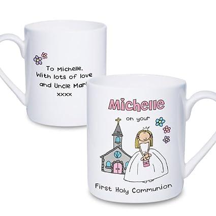Personalizado Bang en la puerta primera Santa Comunión niña taza - un excelente regalo para ella - personalizado para libre: Amazon.es: Hogar