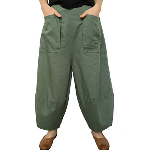 Big Leg Women (Aeneontrue Women's Patchwork Wide Leg Pants Trousers With Big Pockets (Large, Style1_Green))