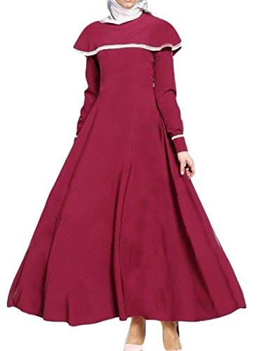 Tacchino Vestito Manto Abaya Musulmano Puro Coolred donne Colore Rosso BAqHATR