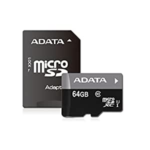 ADATA Premier 64GB microSDHC/SDXC UHS-I U1 Class 10 Memory Card with Adapter (AUSDX64GUICL10-RA1)