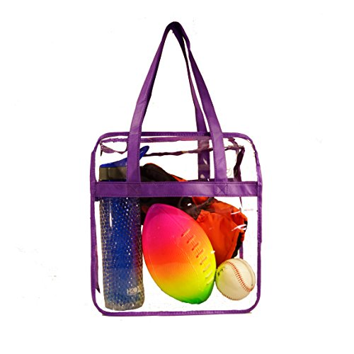 Deluxe Clear Tote Bag w/Zipper, NFL Stadium Approved Security Bag, 12x12x6, Clear Vinyl, Shoulder Straps, Heavy Duty (Purple) Nfl Bag Tote Backpack