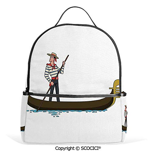 3D Printed Pattern Backpack Illustration of Gondola in Romance City Venice European Symbol of Love Italian Decor,Brown White,Adorable Funny Personalized Graphics