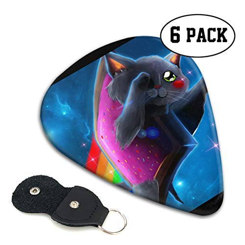 (Nice Music Galaxy Planet Rainbow Cat Cute Kawaii Ultra Thin 0.46 Med 0.71 Thick 0.96mm 4 Pieces Each Base Prime Celluloid Ivory Jazz Mandolin Bass Ukelele Plectrum Guitar Pick Pouch Display )