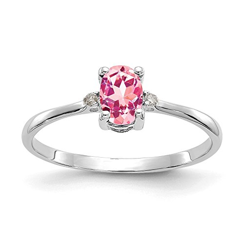 - 10k White Gold Dia/pink Tourmaline Birthstone Band Ring Size 6.00 Stone October Oval Fine Jewelry Gifts For Women For Her
