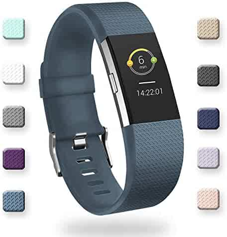 POY Replacement Bands Compatible for Fitbit Charge 2, Classic & Special Edition Sport Wristbands, Slate Large 1PC