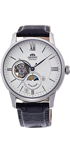 Orient RA-AS0005S10A Men's Silver Tone Sun and Moon Open Heart Leather Band Automatic Watch