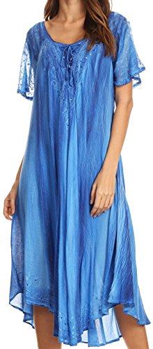 Sakkas 17604 - Myani Two Tone Embroidered Sheer Cap Sleeve Caftan Long Dress | Cover Up - Blue - - Swim Uk Leggings