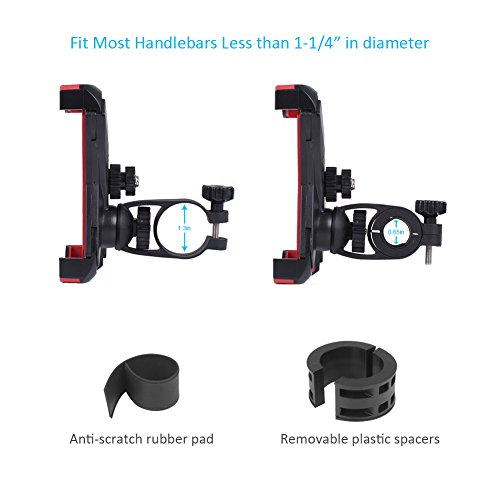 Puroma Universal Bike Phone Mount, 360 Degrees Rotatable Adjustable Bicycle Handlebar Cradle Clamp for iPhone 7 7plus 6 6s 6plus, Samsung Galaxy S8 S8+ S7, Huawei Mate 9 and More Devices up to 7 Inch