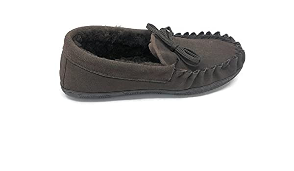 Men's Suede Genuine Sheepskin Moccasin Slippers Loafers Shoes (Coffee XX-Large)