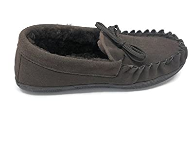 Men's Suede Genuine Sheepskin Moccasin Slippers Loafers Shoes (Coffee Large)