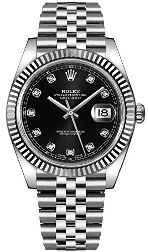 ROLEX DATEJUST 41 STEEL AND WHITE GOLD BLACK DIAMOND DIAL JUBILEE BRACELET 41MM