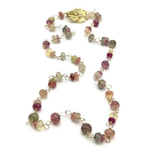 Pink Sapphire Opal Ruby Gemstone Necklace | Designer Jewelry Sale | Anniversary Birthday Gifts | 21 Inch ()
