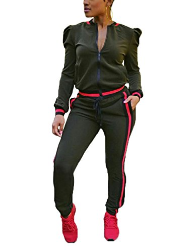 Autumn Two Piece set Tracksuit Cap Sleeve Jacket and Long Pants Casual Tracksuit Sweatsuit for Ladies Army Green L