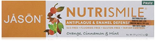 JASON Nutrismile Enamel Defense Fluoride-Free Toothpaste, Orange Cinnamon & Mint, 4.2 oz. (Packaging May Vary)