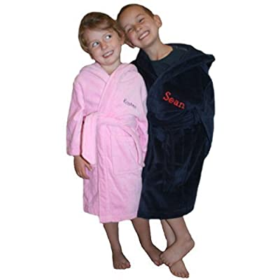 Personalized Hooded Children's Deluxe Terry Velour Bathrobe Cover Up in Multiple Sizes and Colors - Embroidery of Name or Monogram Included