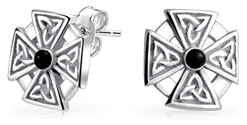 (Mens Women Maltese Cross Black Stone Celtic Knot Templar Knight Cross Small Stud Earrings Oxidized 925 Sterling)