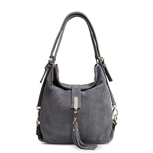 Tthappy76 Women Real Split Suede Leather Shoulder Bag Leisure Nubuck Casual Handbag TopHandle BagDark Grey