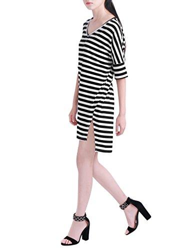 Allegra K Mujer blanco y negro De rayas Holgado Cuello en V Vestido Túnica negro,blanco