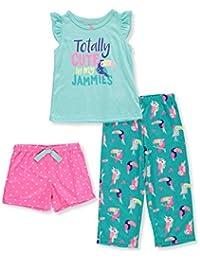 Girls 3-Piece Flutter Sleeve Jersey Pajamas