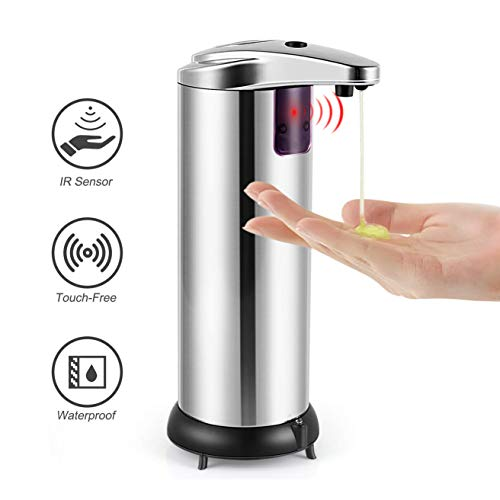 Aibika Soap Dispenser , Upgraded Automatic Touchless Hand Soap Dispenser with Waterproof Base,Infrared Motion Sensor Stainless Steel Hand Free Auto Sensor Soap Dispenser for Bathroom kitchen Hotel