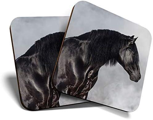 Great Coasters (Set de 2) Posavasos cuadrado/brillante de calidad para cualquier tipo de mesa, caballo andaluz negro #12493
