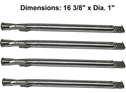 Stainless Steel Tube Burner Replacement (4-pack) for Master Forge MFA480BSP, MFA480GSN, MFA480GSP, MFA550CBP, Dyna-Glo DGB-730SNB-D, DGB730SNB-D, Backyard BGB390SNP, BGE530BSP. by Grill Valueparts